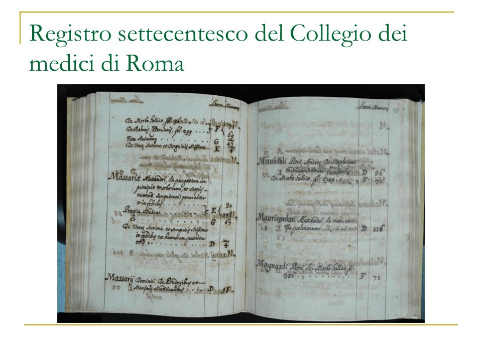 Registro settecentesco del Collegio dei medici di Roma