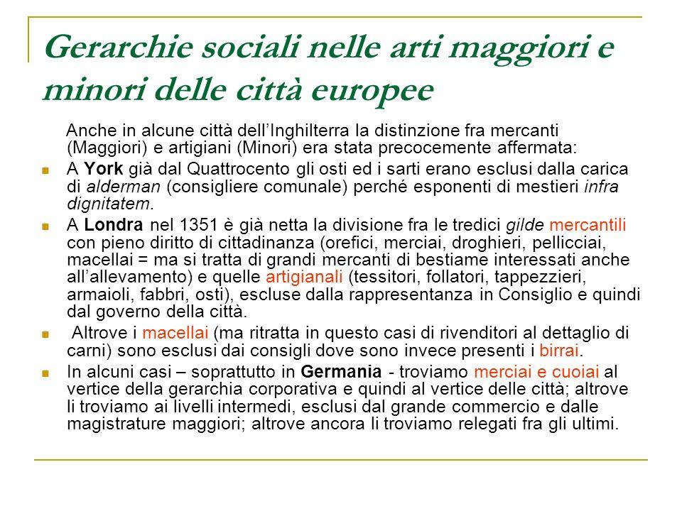 Gerarchie sociali nelle arti maggiori e minori delle città europee