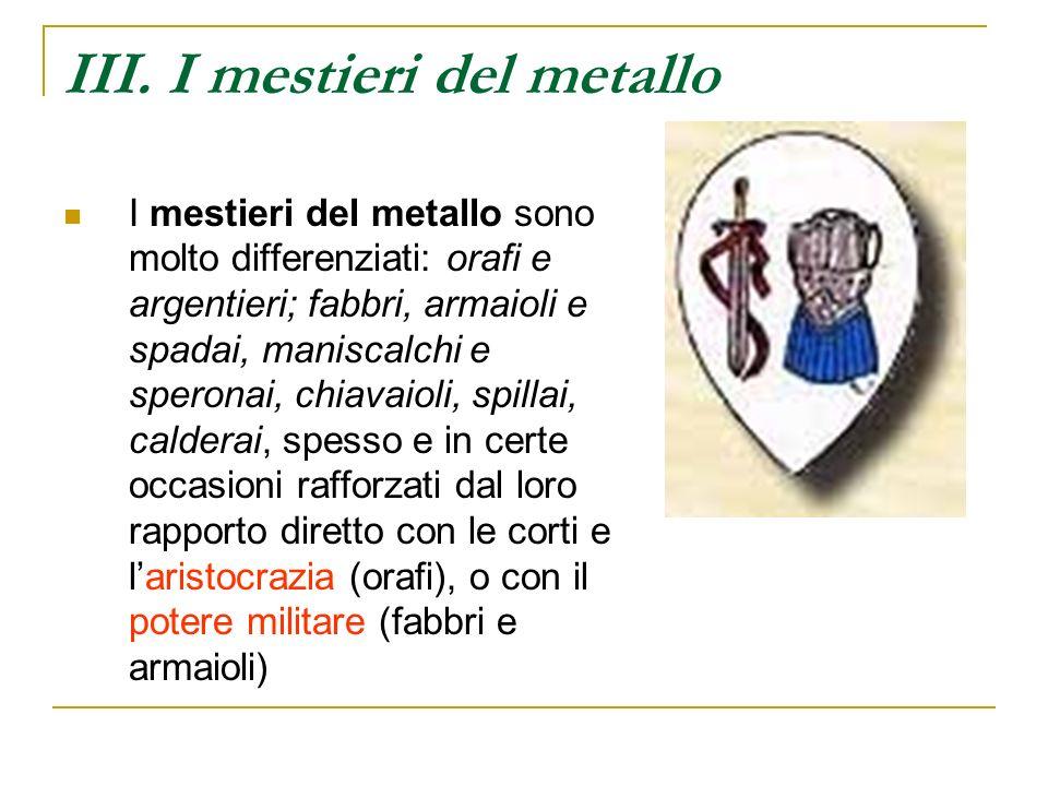 III. I mestieri del metallo