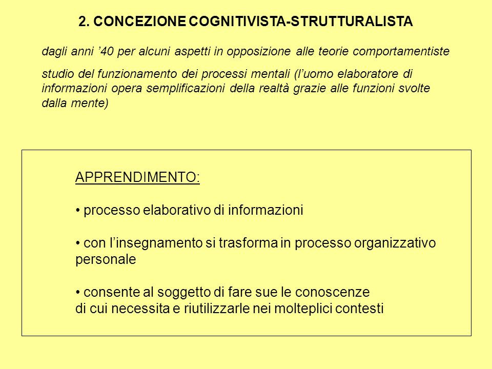 2. CONCEZIONE COGNITIVISTA-STRUTTURALISTA
