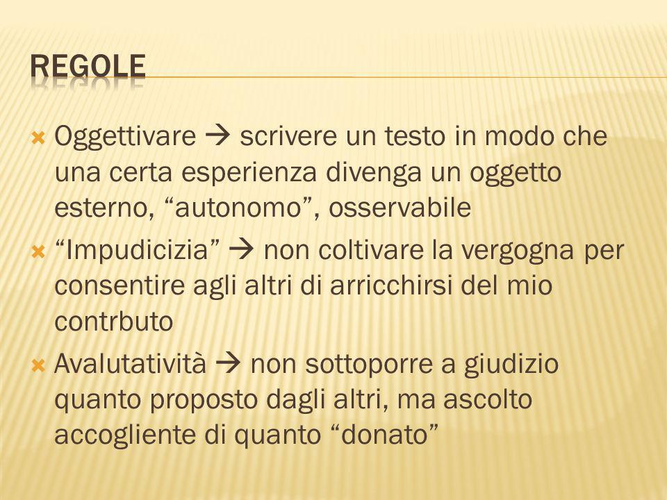 Regole Oggettivare  scrivere un testo in modo che una certa esperienza divenga un oggetto esterno, autonomo , osservabile.