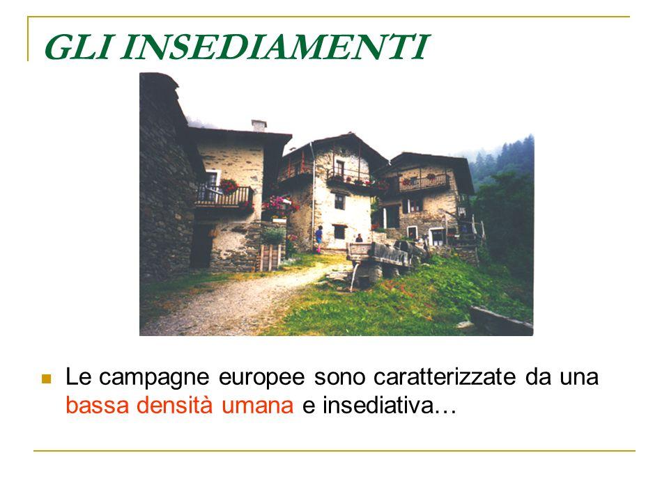GLI INSEDIAMENTI Le campagne europee sono caratterizzate da una bassa densità umana e insediativa…