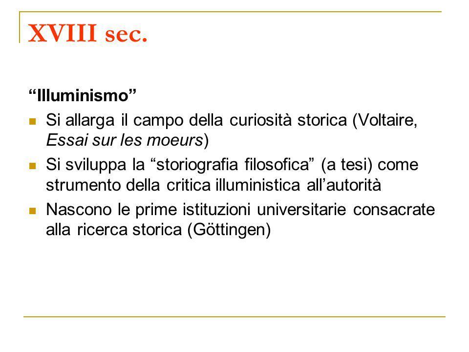 XVIII sec. Illuminismo