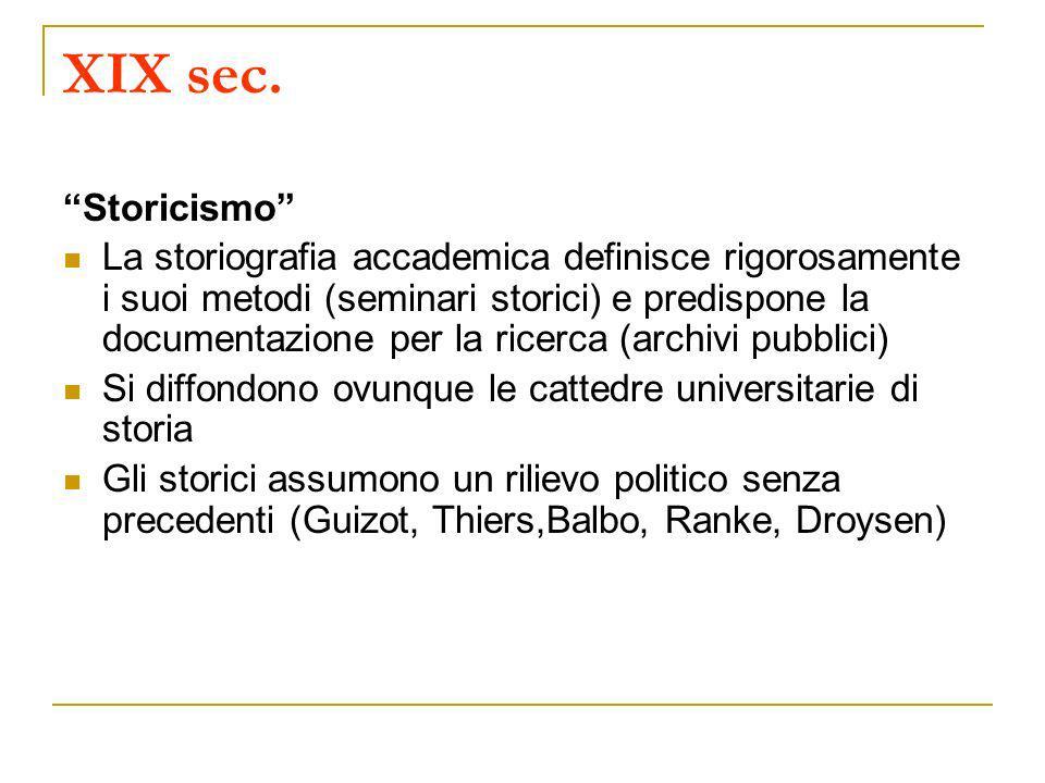 XIX sec. Storicismo