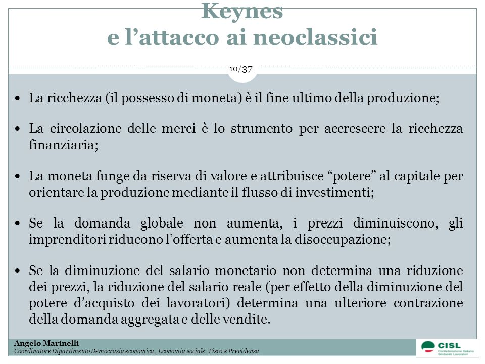 Keynes e l'attacco ai neoclassici