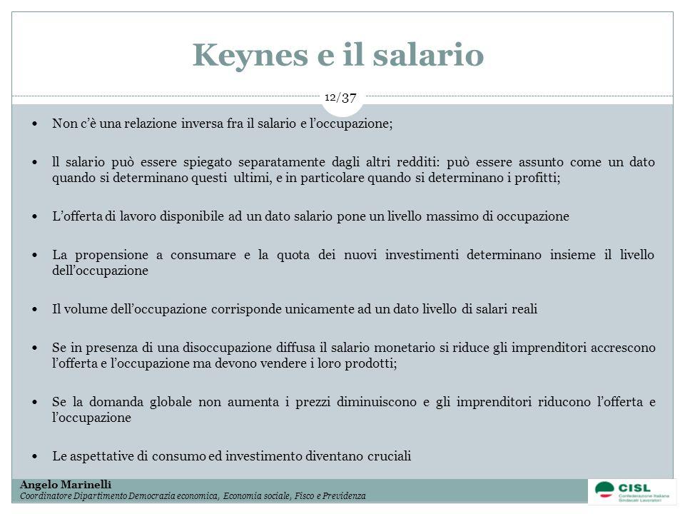 Keynes e il salario Non c'è una relazione inversa fra il salario e l'occupazione;