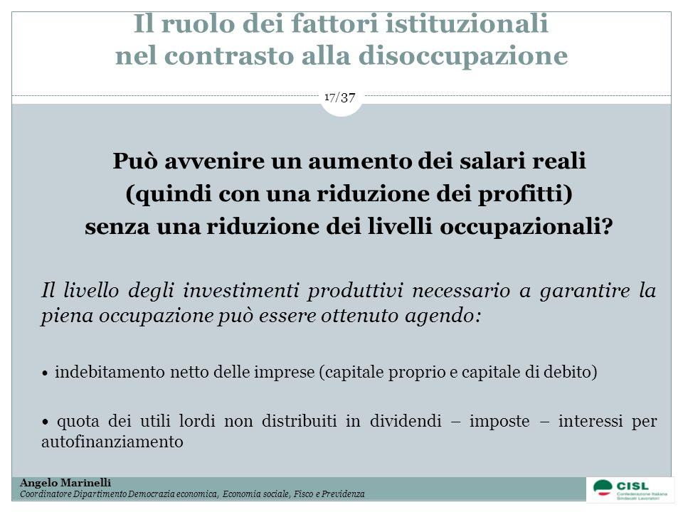Il ruolo dei fattori istituzionali nel contrasto alla disoccupazione