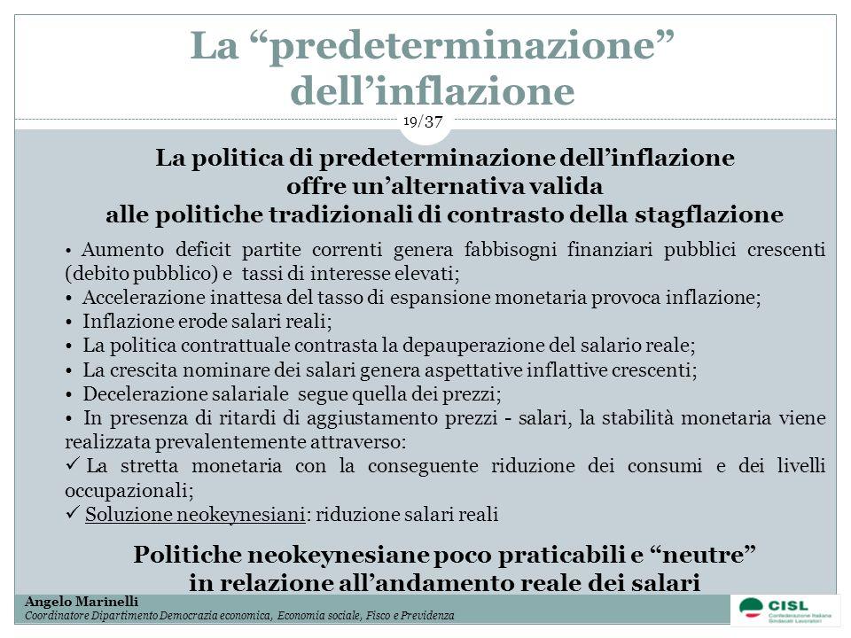 La predeterminazione dell'inflazione