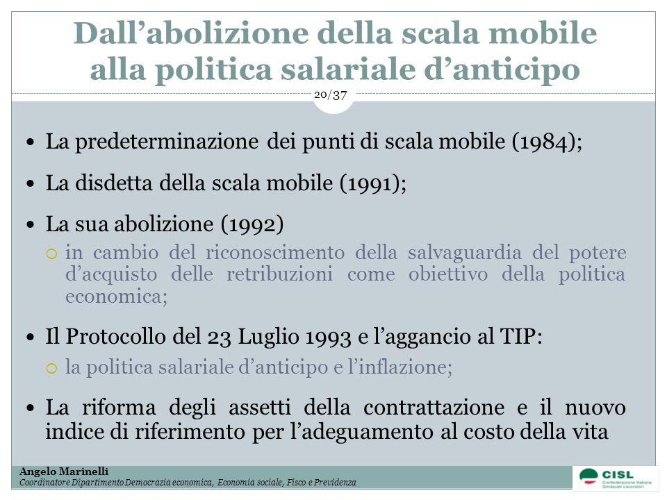 Dall'abolizione della scala mobile alla politica salariale d'anticipo