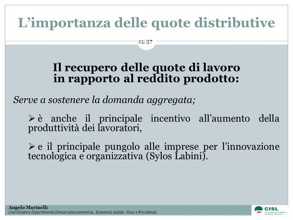 L'importanza delle quote distributive