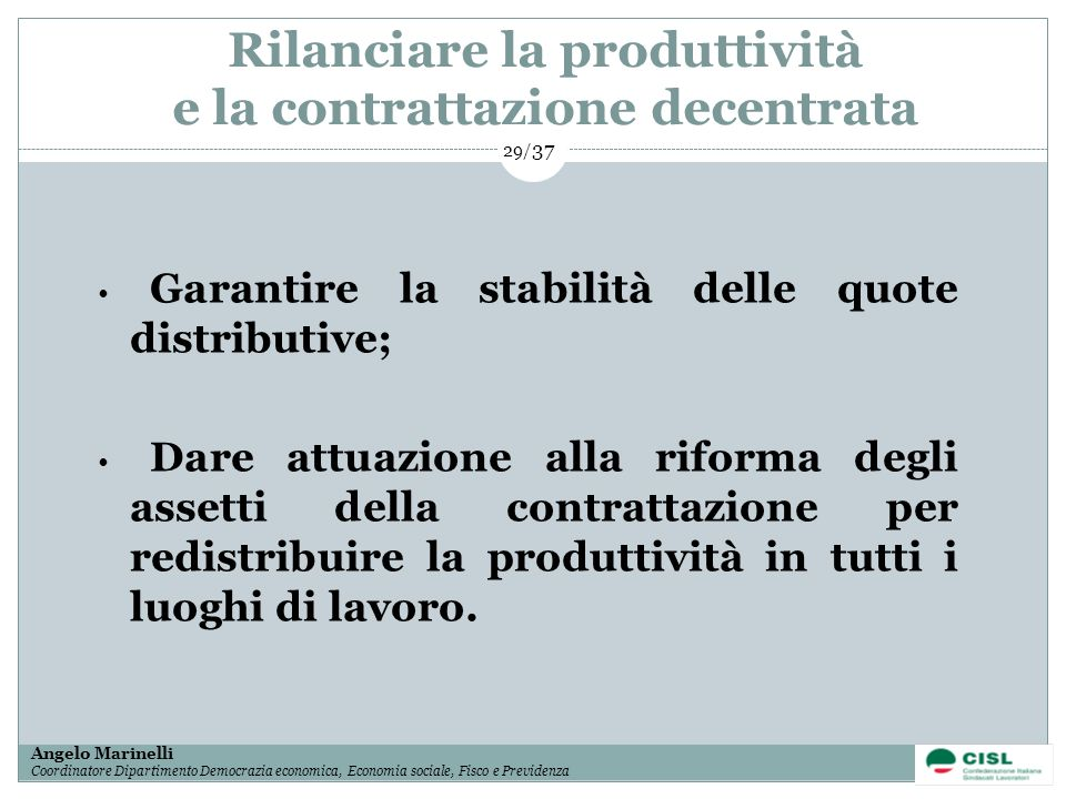 Rilanciare la produttività e la contrattazione decentrata