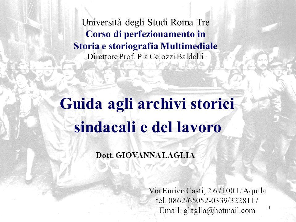sindacali e del lavoro Guida agli archivi storici