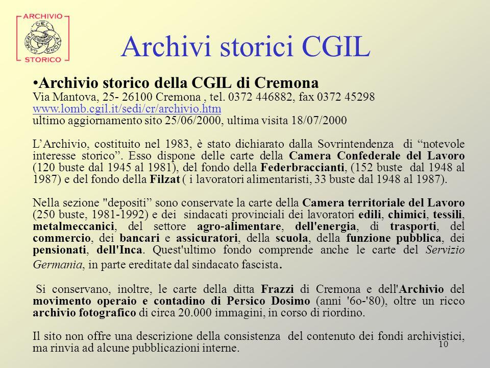 Archivi storici CGIL Archivio storico della CGIL di Cremona
