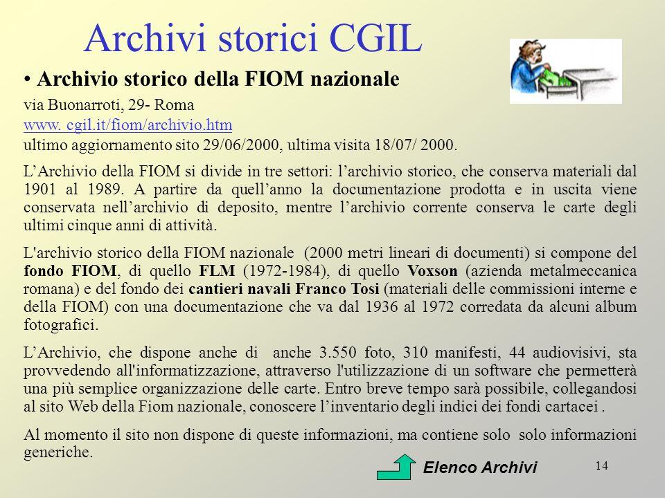 Archivi storici CGIL Archivio storico della FIOM nazionale