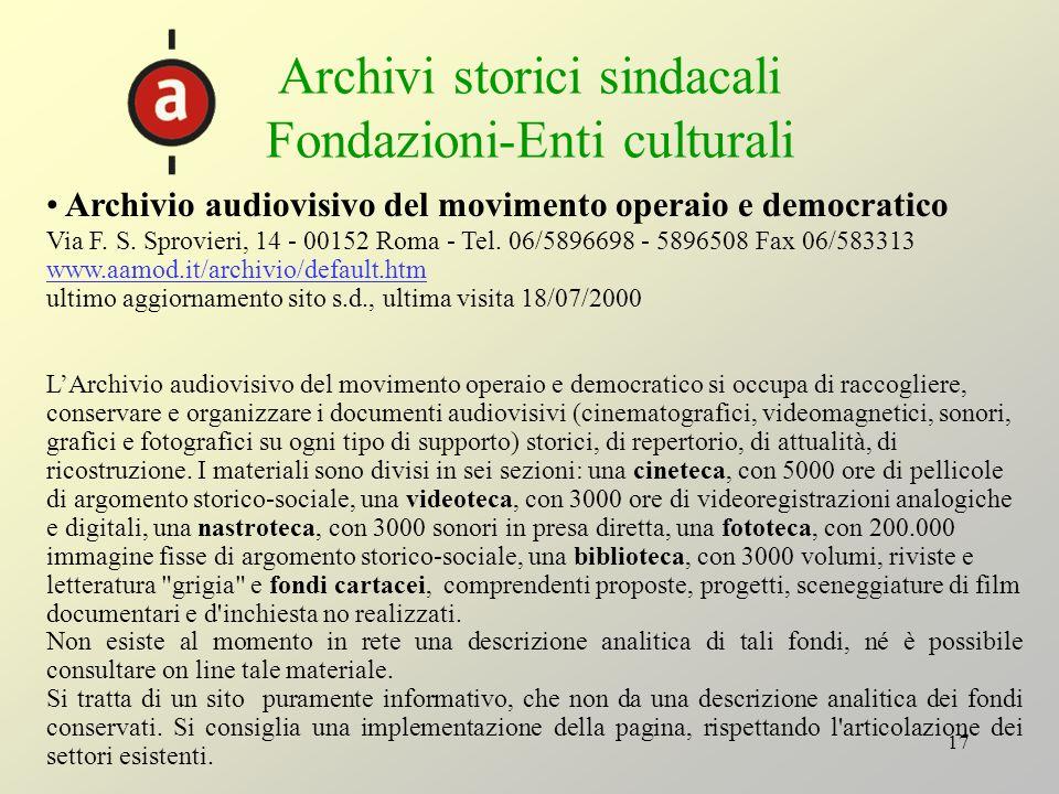 Archivi storici sindacali Fondazioni-Enti culturali