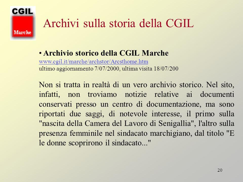Archivi sulla storia della CGIL