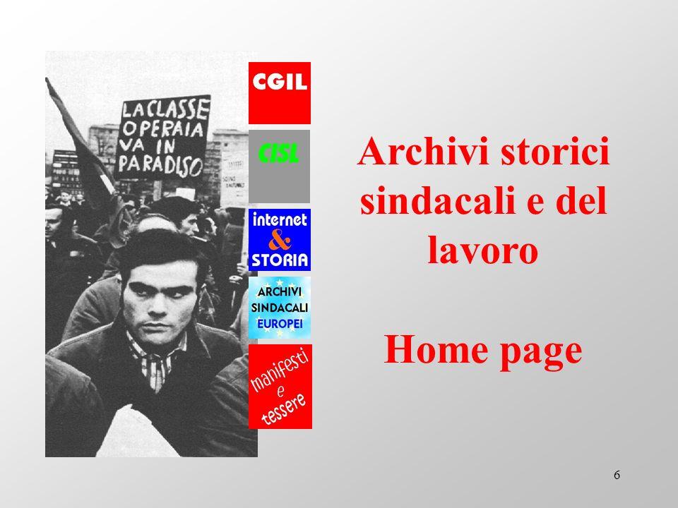 Archivi storici sindacali e del lavoro Home page