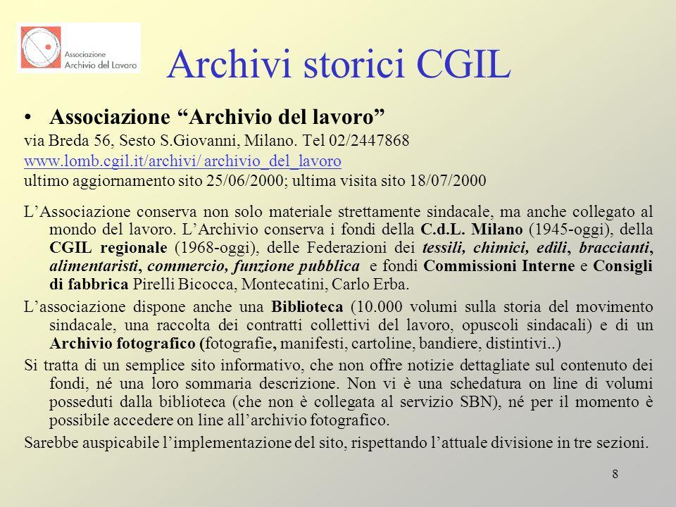 Archivi storici CGIL Associazione Archivio del lavoro
