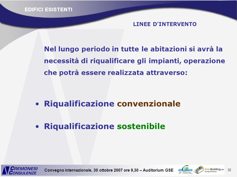 Riqualificazione convenzionale Riqualificazione sostenibile