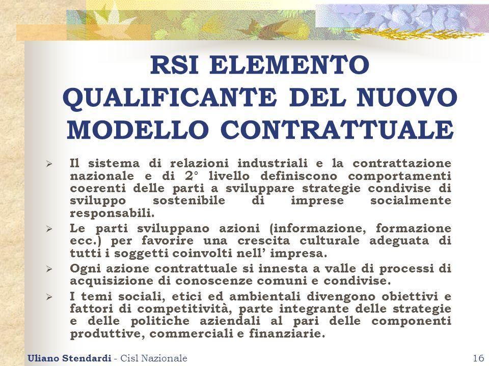 RSI ELEMENTO QUALIFICANTE DEL NUOVO MODELLO CONTRATTUALE