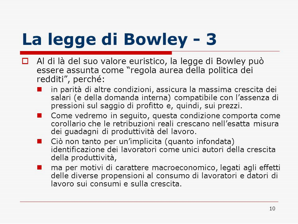 La legge di Bowley - 3
