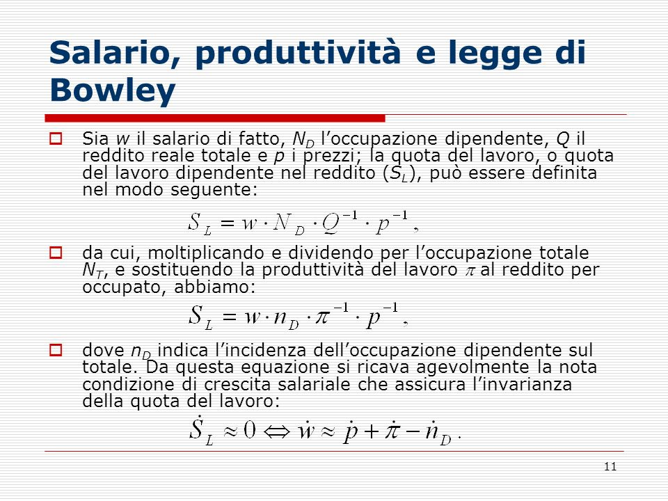 Salario, produttività e legge di Bowley