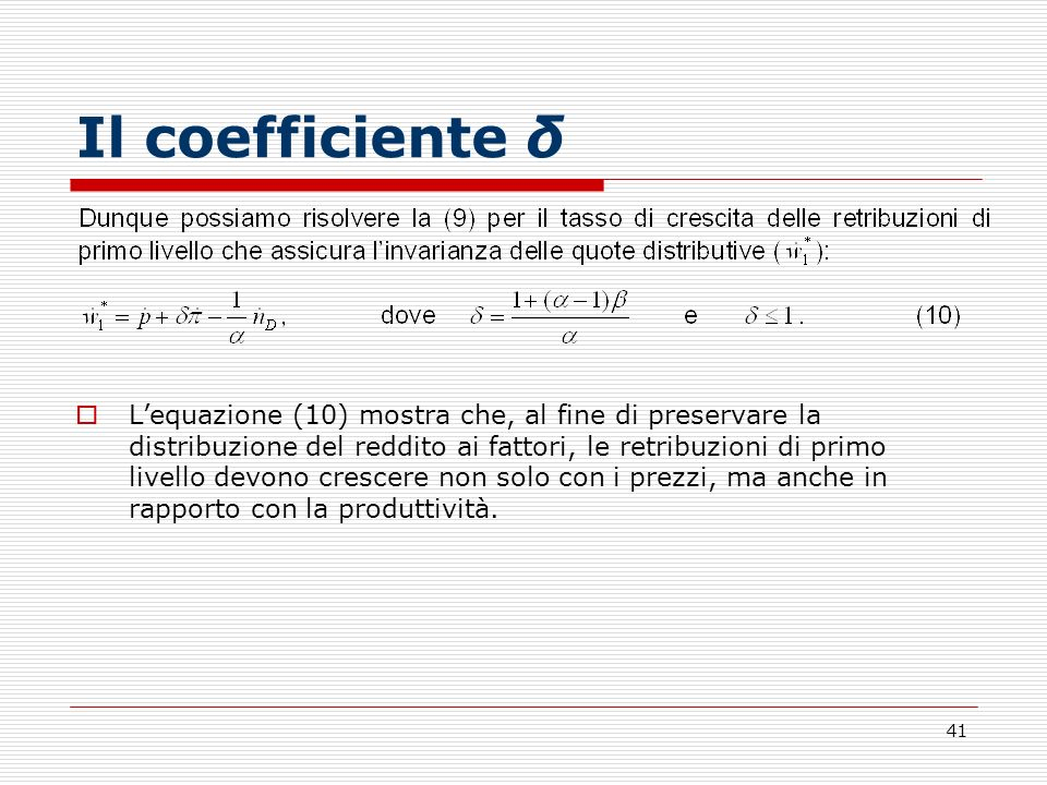 Il coefficiente δ