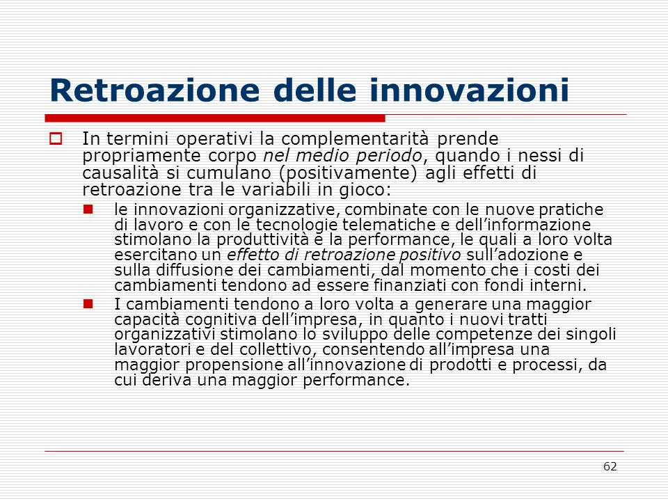 Retroazione delle innovazioni