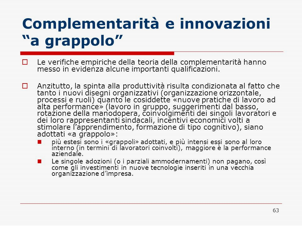 Complementarità e innovazioni a grappolo