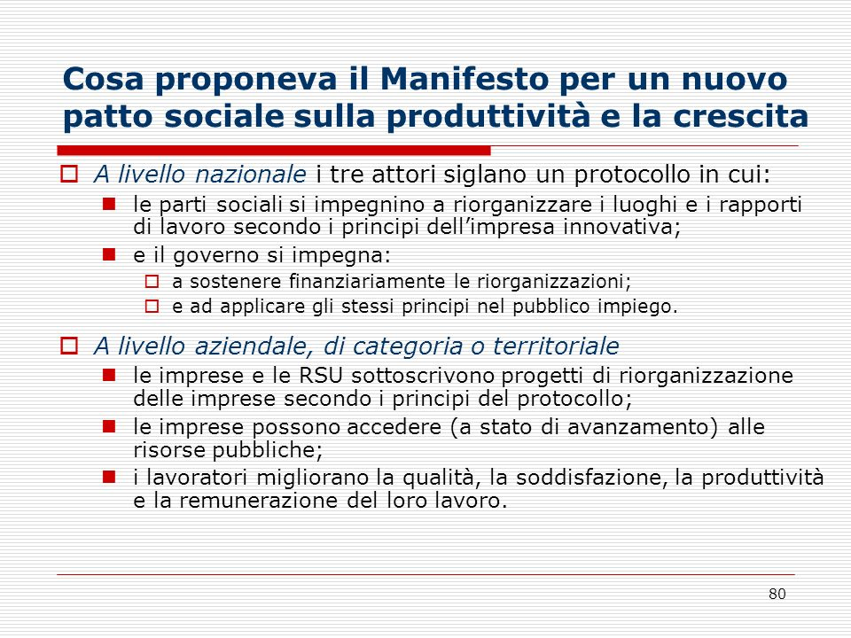 Cosa proponeva il Manifesto per un nuovo patto sociale sulla produttività e la crescita