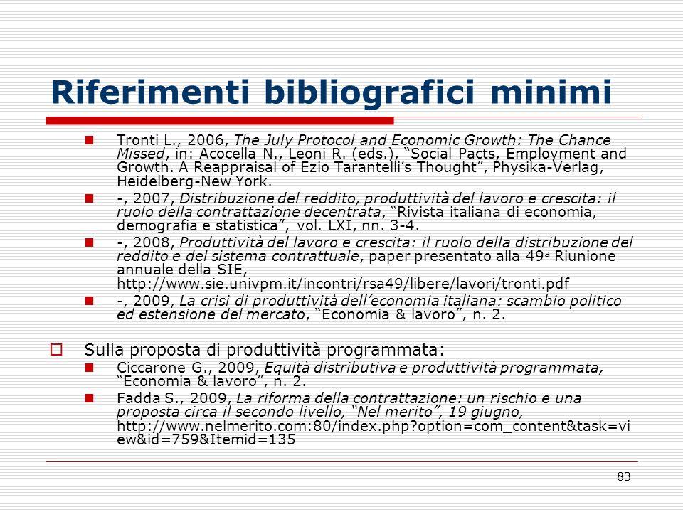Riferimenti bibliografici minimi