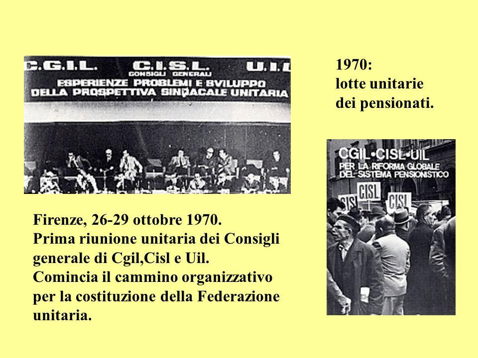 1970: lotte unitarie dei pensionati.