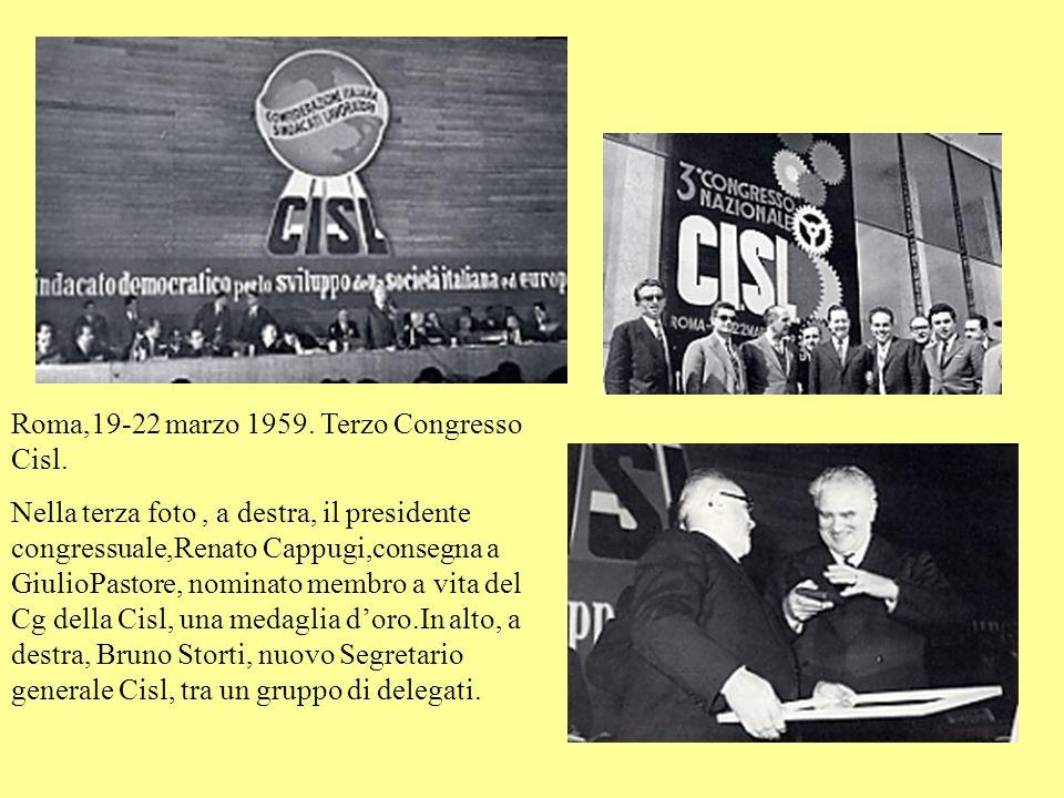 Roma,19-22 marzo 1959. Terzo Congresso Cisl.
