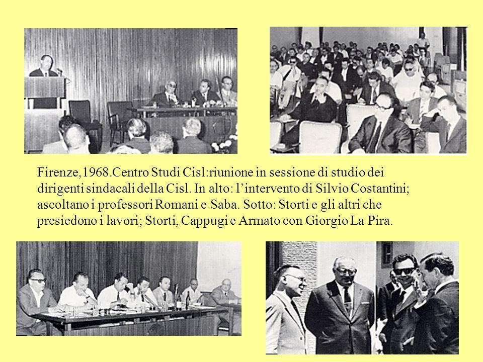 Firenze,1968.Centro Studi Cisl:riunione in sessione di studio dei dirigenti sindacali della Cisl.