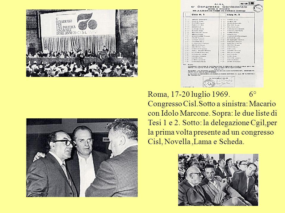 Roma, 17-20 luglio 1969. 6° Congresso Cisl