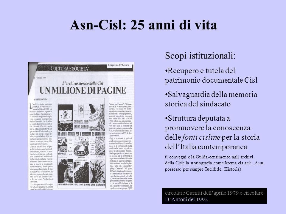 Asn-Cisl: 25 anni di vita Scopi istituzionali: