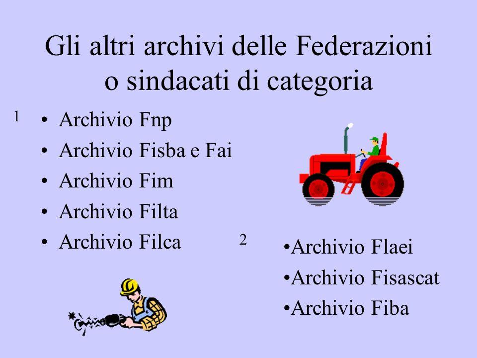 Gli altri archivi delle Federazioni o sindacati di categoria