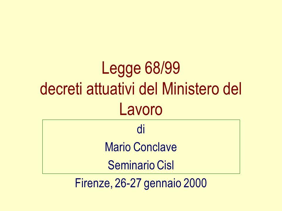 Legge 68/99 decreti attuativi del Ministero del Lavoro