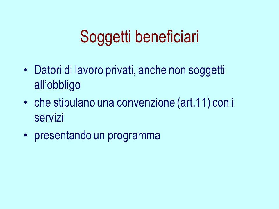 Soggetti beneficiari Datori di lavoro privati, anche non soggetti all'obbligo. che stipulano una convenzione (art.11) con i servizi.