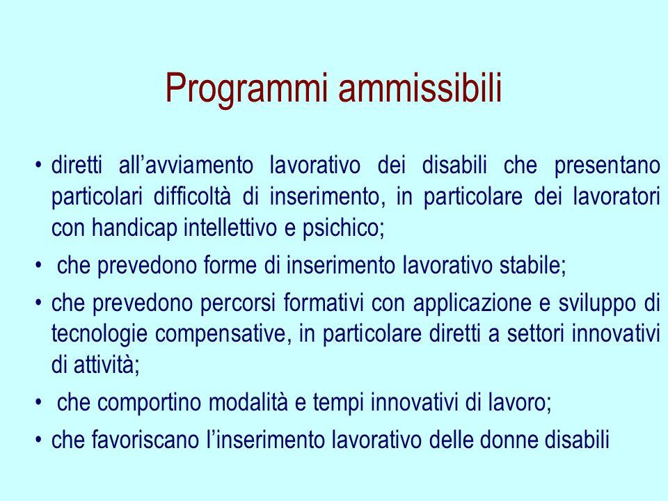 Programmi ammissibili