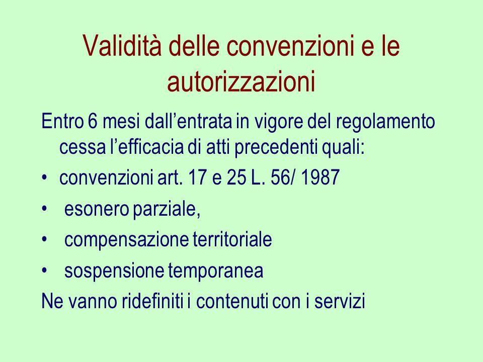 Validità delle convenzioni e le autorizzazioni