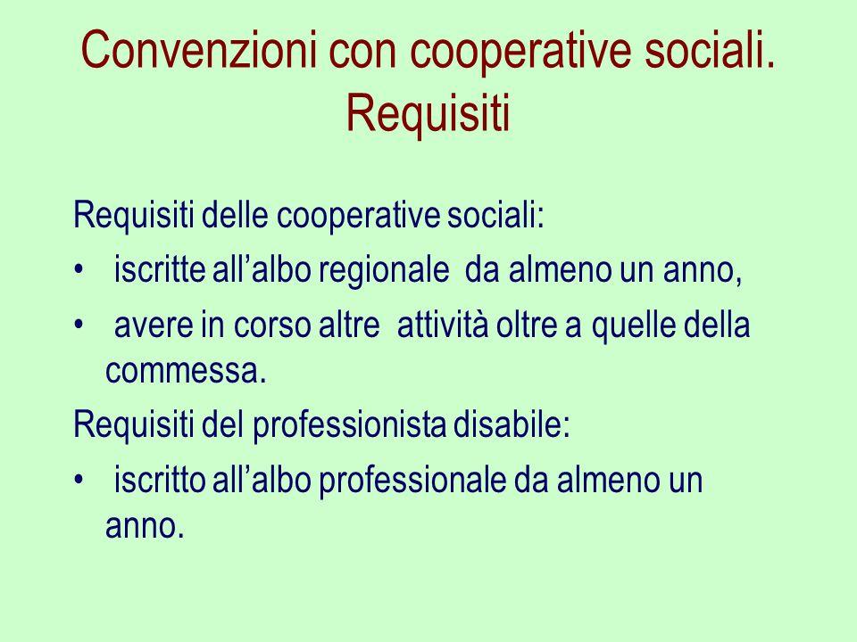 Convenzioni con cooperative sociali. Requisiti