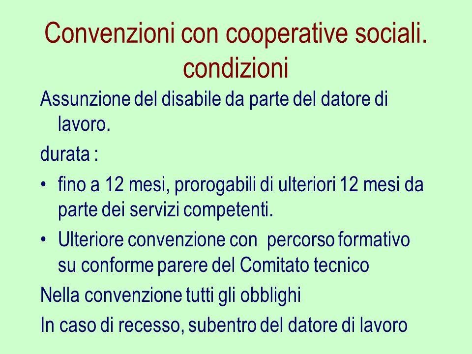 Convenzioni con cooperative sociali. condizioni