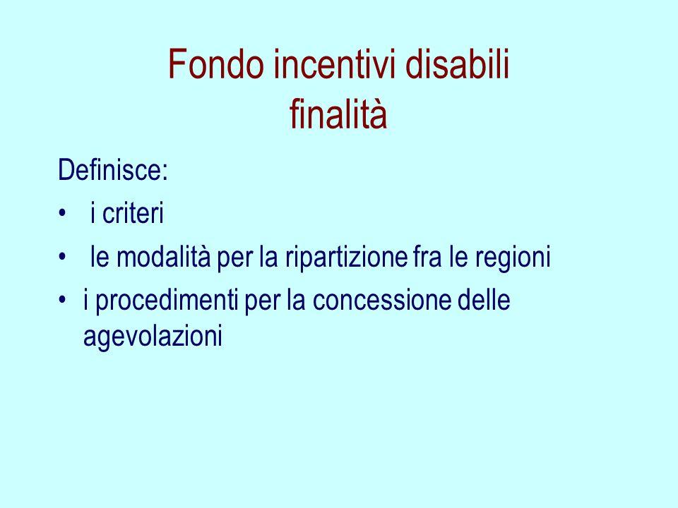 Fondo incentivi disabili finalità
