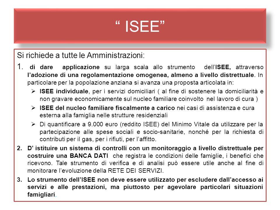 ISEE Si richiede a tutte le Amministrazioni: