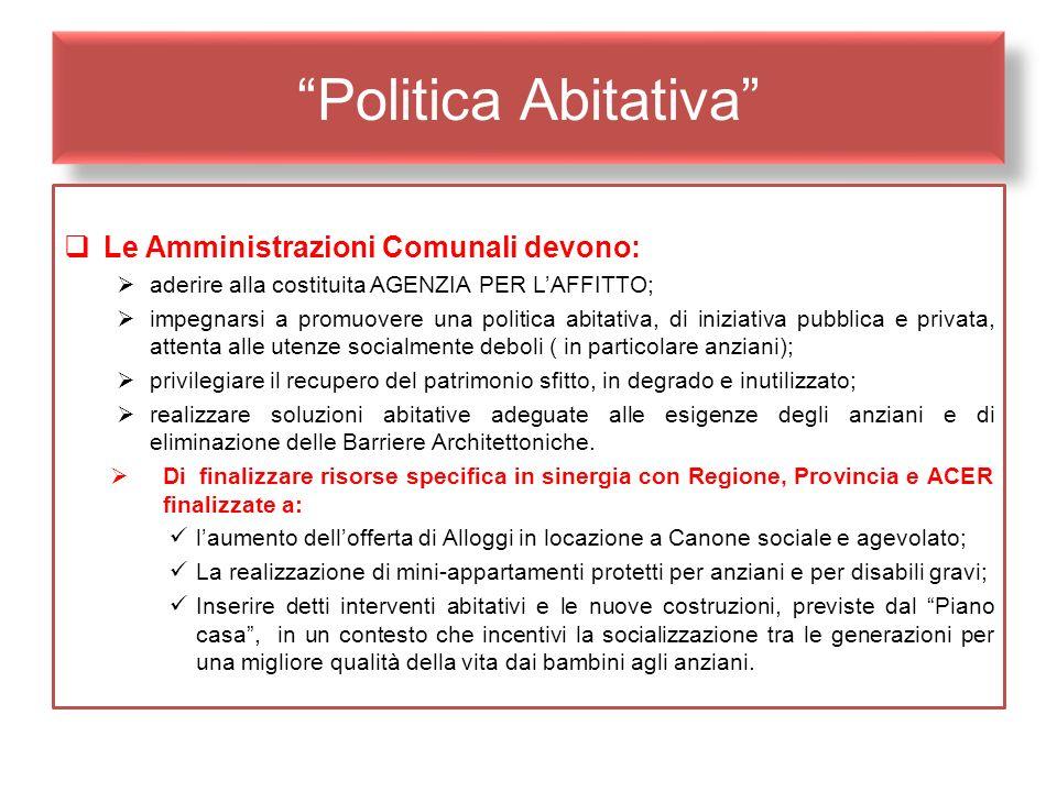 Politica Abitativa Le Amministrazioni Comunali devono: