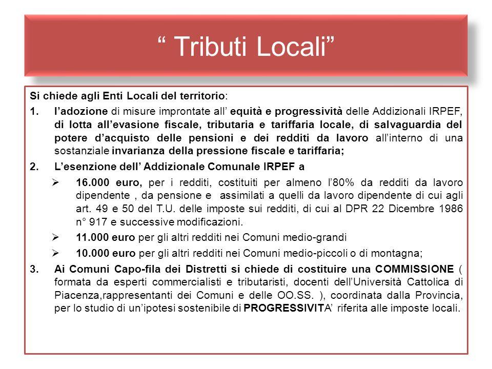 Tributi Locali Si chiede agli Enti Locali del territorio: