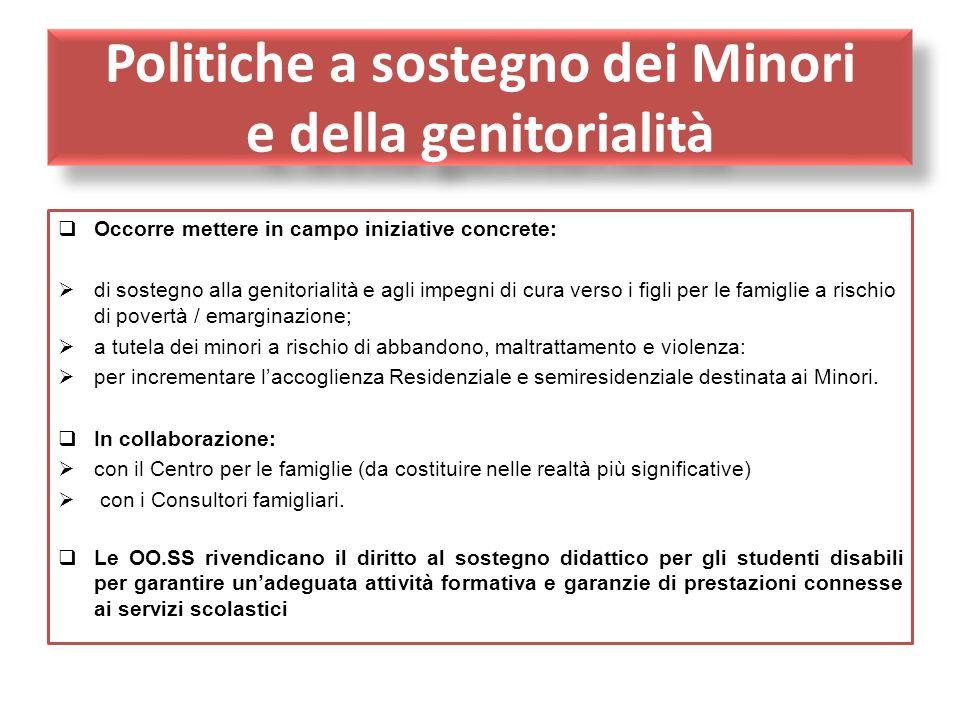 Politiche a sostegno dei Minori e della genitorialità