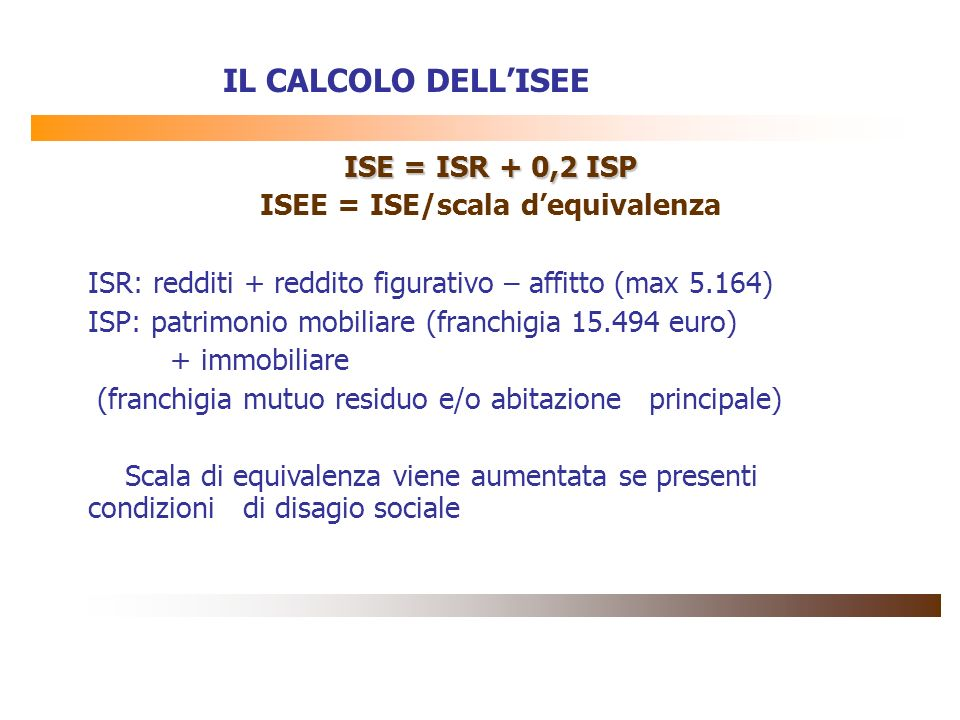 ISEE = ISE/scala d'equivalenza