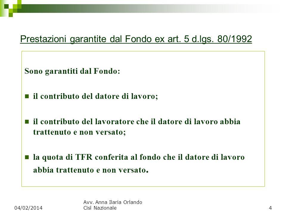 Prestazioni garantite dal Fondo ex art. 5 d.lgs. 80/1992